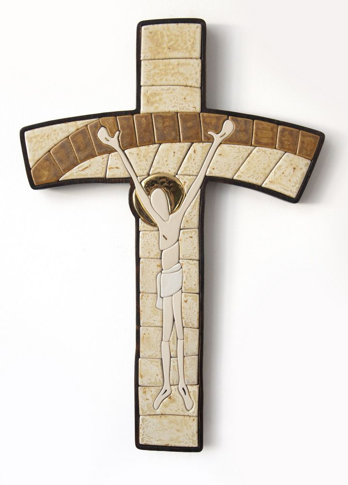 Ceramic mosaic cross stoneware, gold, spruce