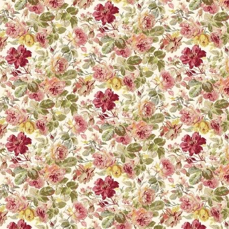 Pandora Chintz - Femme de BrocanteA beautiful old fashioned soft linen floral of roses in pinks, blues, yellows and green on an off-white background. 60% linen/40% cotton. Suitable for curtains, blinds and soft furnishings.$40.00 22-04-2017