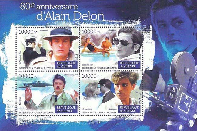В 2015 году Почтовая служба Гвинеи выпустила серию «80-летие Алена Делона» (80e anniversaire d'Alain Delon), которая посвящена одноу из легендарных французских киноактеров второй половины 20-го века.