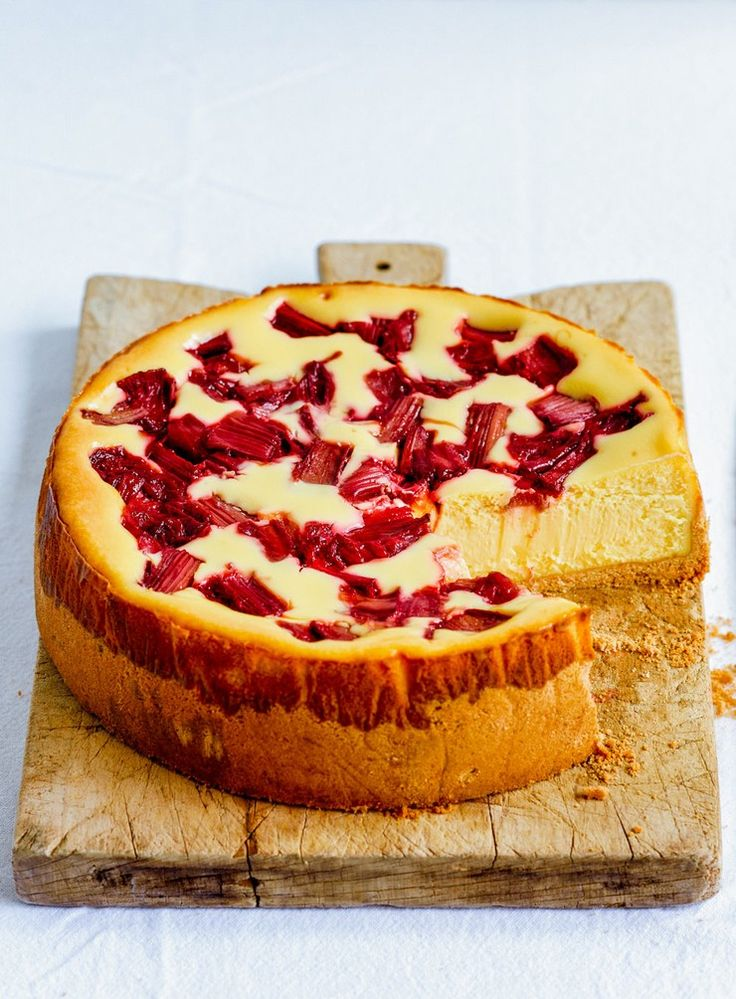 White Chocolate and Rhubarb Baked Cheesecake