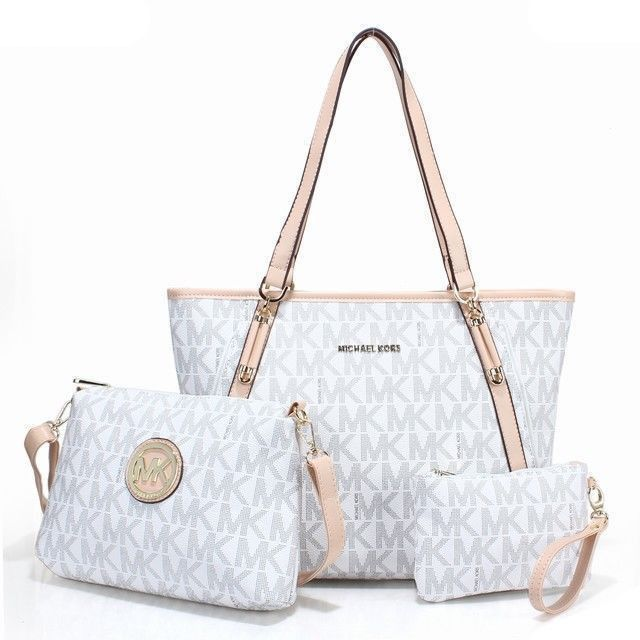 Cheap Michael Kors Charm Logo Large White Totes In Our Outlet Can