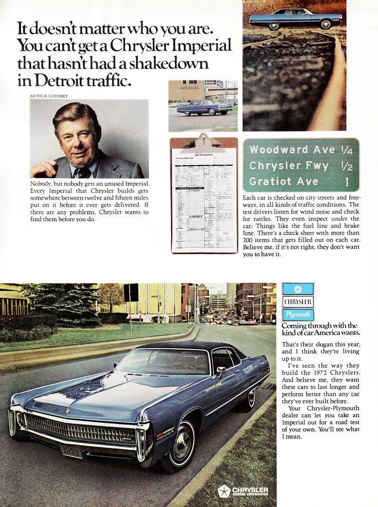Arthur Godfrey. 1972 Chrysler Imperial.
