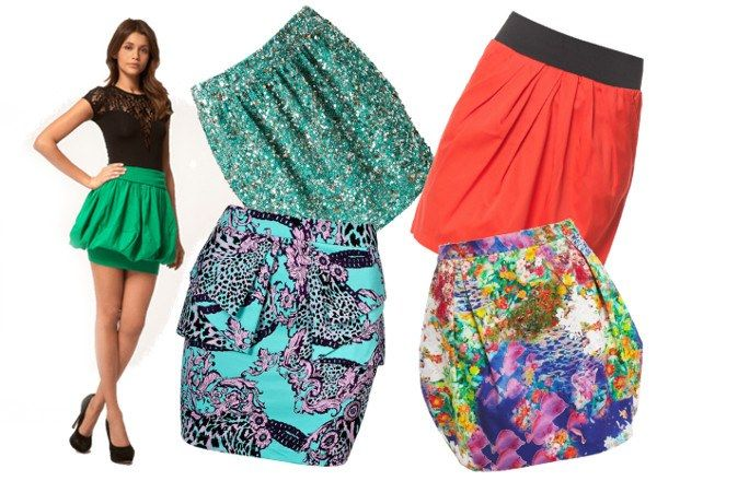 Boyish. If you lack a few girlish curves you can easily add them in with a bauble skirt! These voluminous skirts are perfect for adding some feminine form to your shape.  Here are some of our faves... 1. Green skirt, ASOS 2. Teal sparkle skirt, ASOS 3. Red and black skirt, Vero Moda 4. Pink pattern peplum, Topshop  5. Floral fish print skirt, Bardot