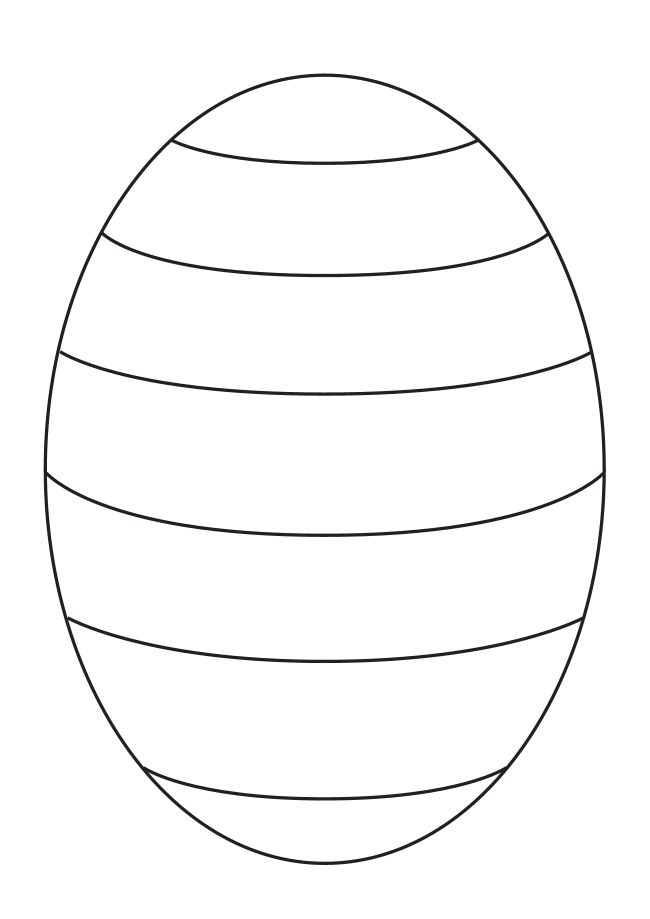 Blank Easter egg template to create your own patterns for pre-K and kindergarten kids - from www.kigaportal.com