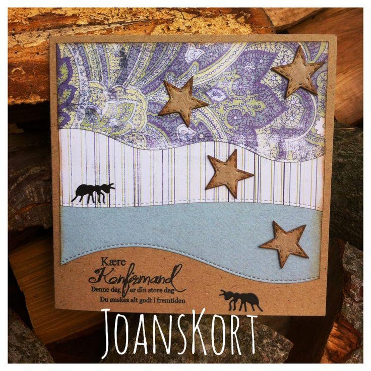 JoansKort: Konfirmationskort med stjerner og myrer