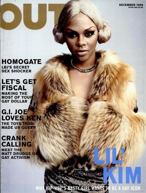 blonde, fur...lil kim/she used to be so pretty surgery ruined her/still one of those artist I play