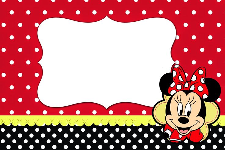 Minnie Red, Black, Yellow and Polka Dots: Free Printable Invitations.