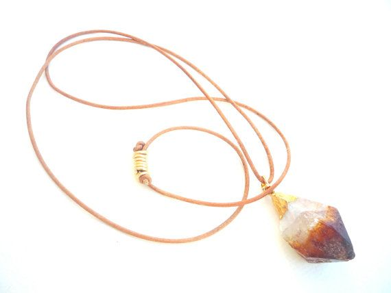 Leather cord and Beautiful Golden Citrine Druzy Gold by Iridonousa