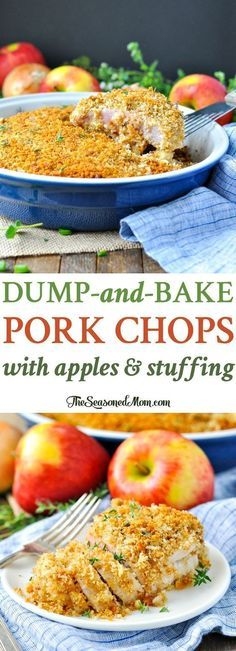 Dump-and-Bake Boneless Pork Chops with Apples and Stuffing! Easy Dinner Recipes | Dinner Ideas | One Pot Meals | Pork Chop Recipes | Baked Pork Chops | Easy Dinners | Casserole Recipes