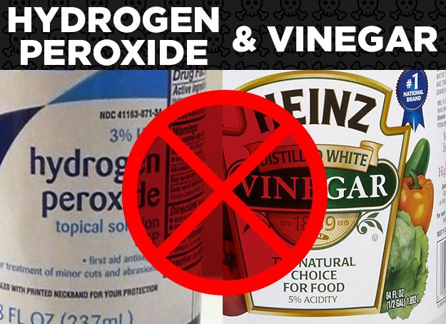 Hydrogen Peroxide + Vinegar = Parecetic Acid = Burn | 16 Common Product Combinations You Should Never Mix
