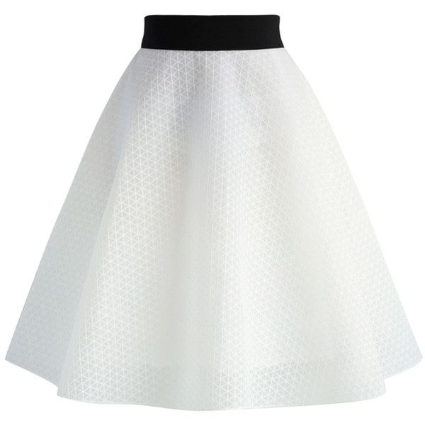Chicwish White Prism Organza A-line Skirt (57 AUD) ❤ liked on Polyvore featuring skirts, bottoms, saias, white, print skirt, embellished skirt, a line skirt, white a line skirt and knee length a line skirt