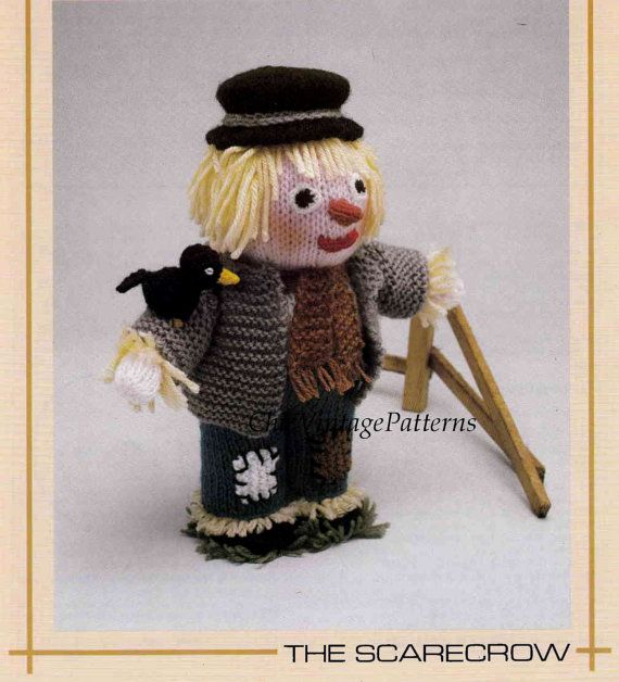 Knitted Soft Toy Pattern ... Scarecrow Doll by ChicVintagePatterns