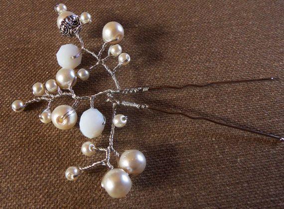 Pearl и Crytal цветов Свадебный Pin, Vintage аксессуары Свадебные прически, Свадебные головные уборы / Pins