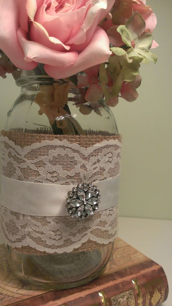 rustic wedding centerpiece burlap and lace by RedHeartCreations