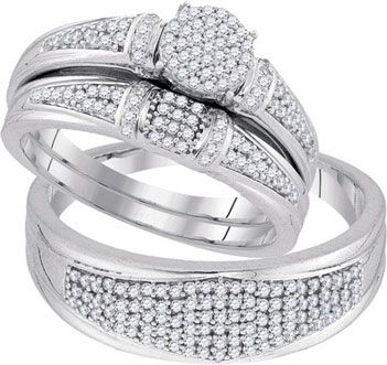 Three Piece Wedding Set 10K White Gold 050 Cts GD 92064