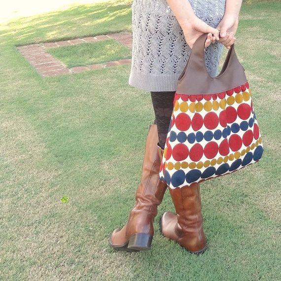 Geometric Tote Bag // Geometric Hobo Bag // Handbag with Leather Look Handle - The Mathilde Tote