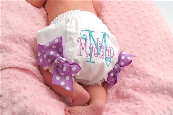Personalized Diaper Cover Embroidered Diaper Cover or by kutekiddo, $12.75: Baby Bloomers, Beautiful Embroidered, Monograms Diapers, Embroidered Diapers, Bows Attached, Personalized Diapers, Diapers Covers, Baby Girls, Covers Embroidered