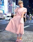 Pink Dress, Purple Platform Sandals & Remake Tote Bag in Harajuku
