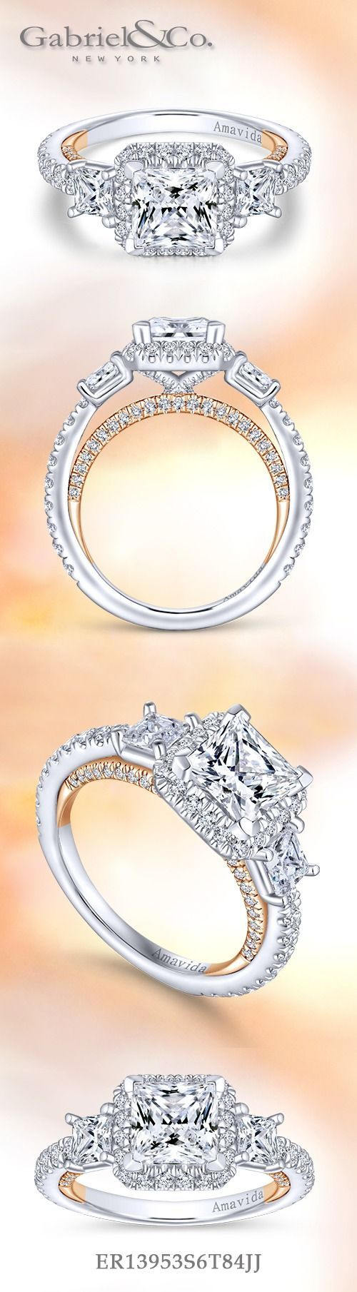 Gabriel NY- Voted  #1  Most Preferred Fine Jewelry and Bridal Brand. 18k White / Rose Gold Princess Cut 3 Stones Engagement Ring
