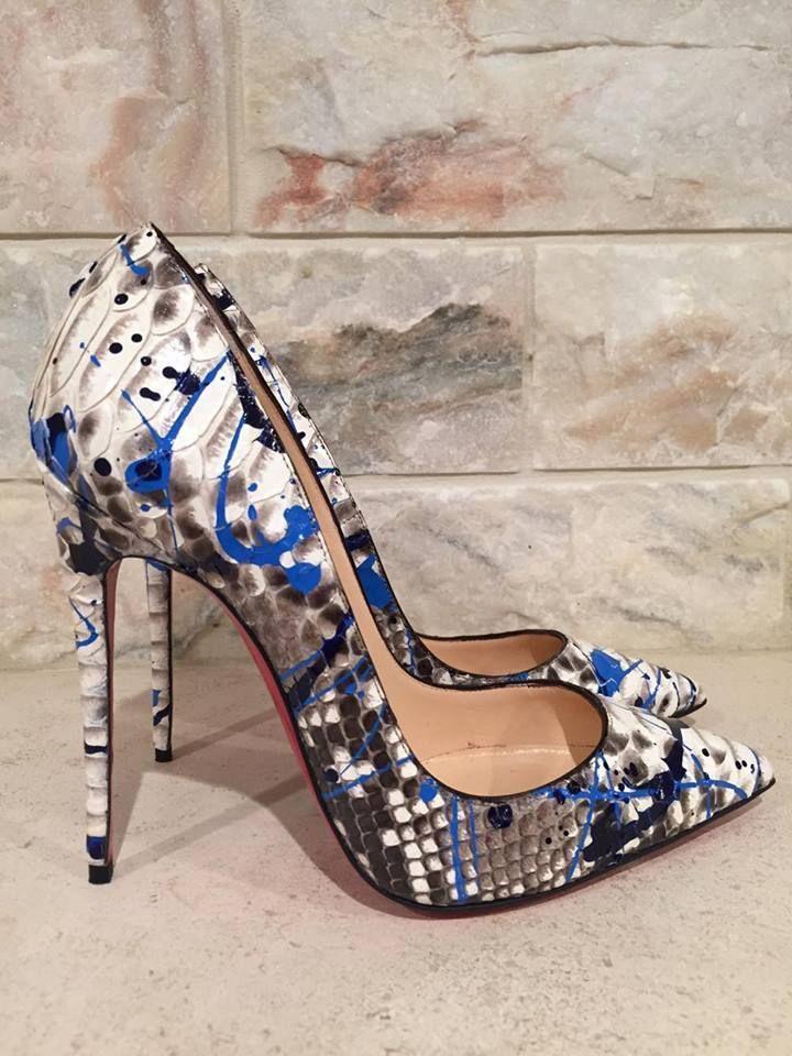 6a4a24c1211 NIB Christian Louboutin So Kate 120 Python Snake Vulcano Blue Heel ...