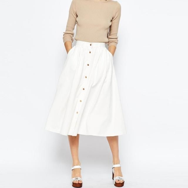 Solid Color Fashion Skirts Women Autumn High Waist Single Button Midi Skirts Brief Style Female Sexy Street Skirt