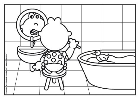 Kleurplaat Frokkie aan het tanden poetsen in de badkamer voordat hij naar bed gaat. Hij heeft zijn pyama al aan.