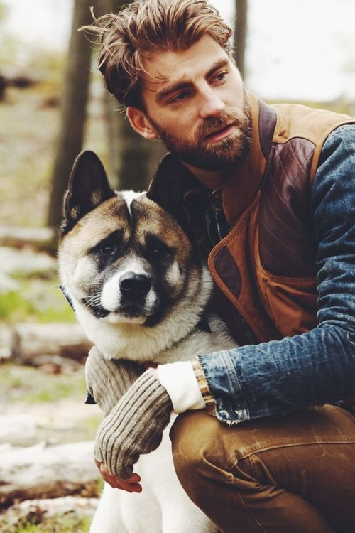 handsome man with high end dog accessory
