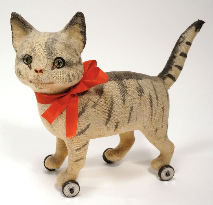 Antique c.1900 Cloth and Papier Mache Pull Toy Cat on Wheels with Glass Eyes