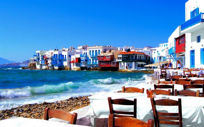 Download wallpapers 4k, Mykonos, coast, cafe, summer, sea, Mykonos island, Greece