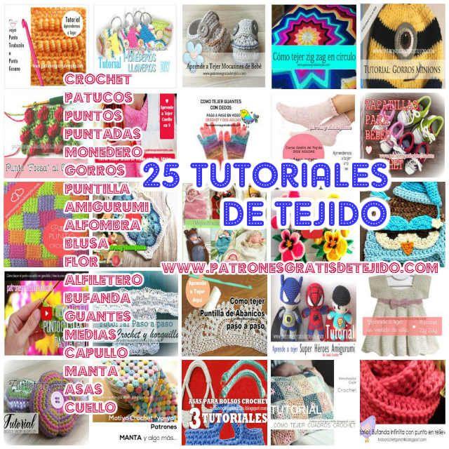 Crochet y Dos agujas: 25 Tutoriales de Tejido  Crochet y Dos Agujas / Co...