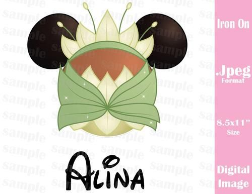Personalized Disney Inspired Princess Tiana Princess and the Frog Mickey Ears Family Vacation Jpeg Format for Iron On