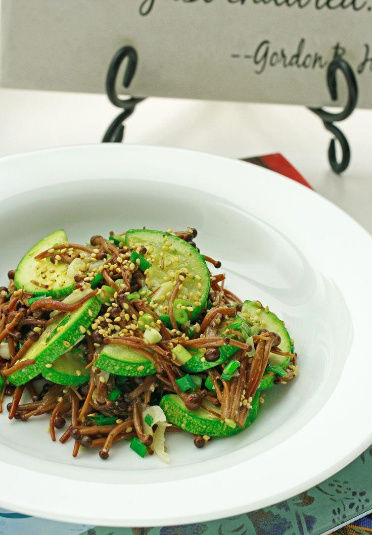 Zucchini & Enoki mushroom stir fry