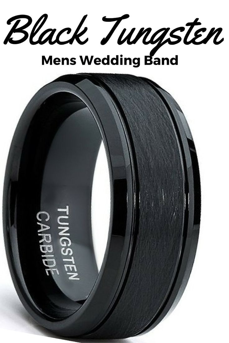 This is an all black tungsten carbide wedding band. The top center of the ring has been designed with a brushed top finish. Next, we have added a high polished finish and beveled edges to the sides of