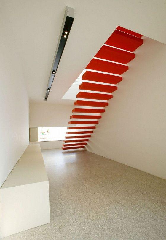 Stairs by Bevk Perovic Arhitekti, Ljubljana, Slovenia.Perovic Arhitekti, Bevk Perovic, Ideas Worth, Floating Stairs, Red Step, Design Architecture, Architecture Ideas, Red Stairs, Architecture Design