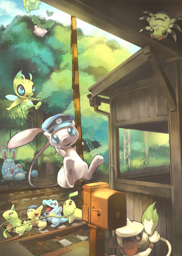 Pokémon! Skiploom,  Hoppip, Celebi, Azumarill, Marill, Mew,  Larvitar,  Cyndaquil, Totodile, Chikorita, Smeargle, Spinarak