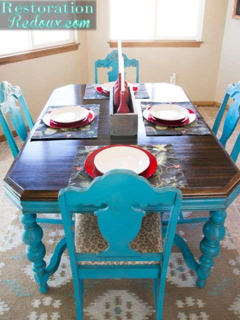Turquoise Dining Table Painted Furniture Decor Dining Table