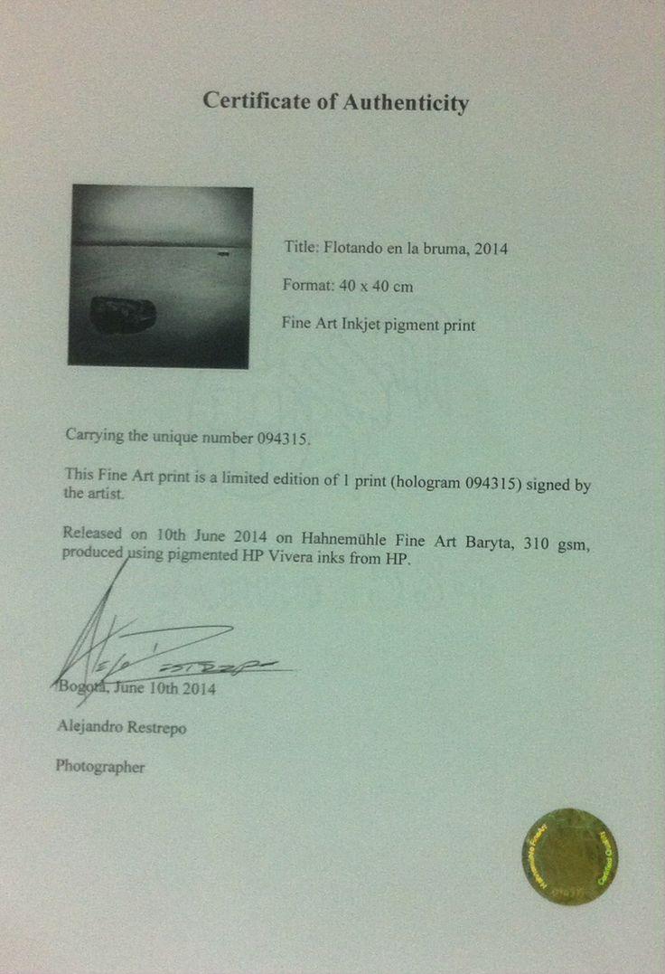 "Title: ""Flotando en la Bruma"" Photography by: Alejandro Restrepo Format: 40x40 cm, Final: 60x60 cm Limited Edition Paper: Hahnemühle Fine Art Baryta 310 gsm Fine Art Inkjet Pigment Print Certificate of Authenticity Price: USD $490  Ready for Delivery!!"
