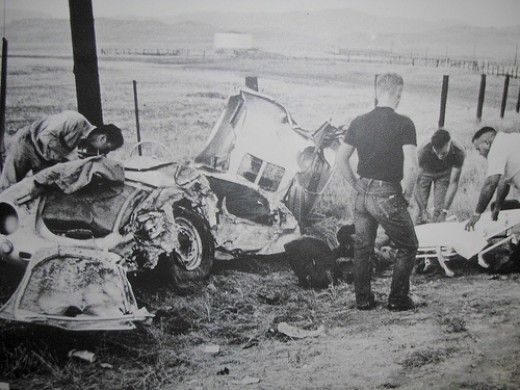 James Dean Car Wreck. he took most of the brunt of the impact, and his foot got crushed between the brake pedal and the clutch pedal.