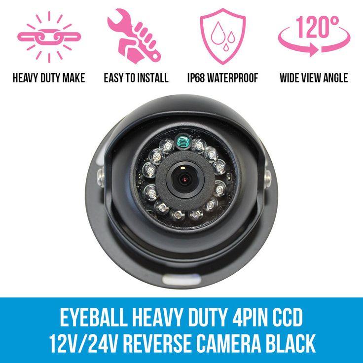 4 PIN Heavy Duty CCD IR Colour Reversing Camera Night Vision 12V 24V Black