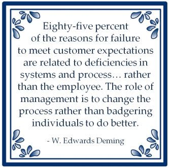 The role of management is to change the process rather than badgering individuals to do better.  W. Edwards Deming