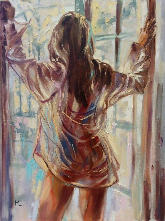 """ PASTEL MORNING "" - original oil painting on canvas, palette knife (2017) Oil painting by Monika Luniak | Artfinder"