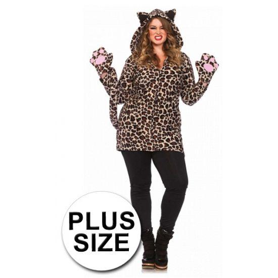 Luipaard jas met handschoenen in grote maten. De luipaard fleece jas is voorzien van afsluitbare rits. De jas is inclusief poot handschoenen,een lange krullende staart en een capuchon met oren.