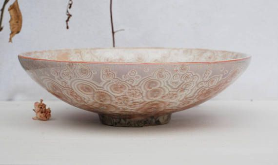 Pink crystal bowl crystalline glaze stoneware crystal