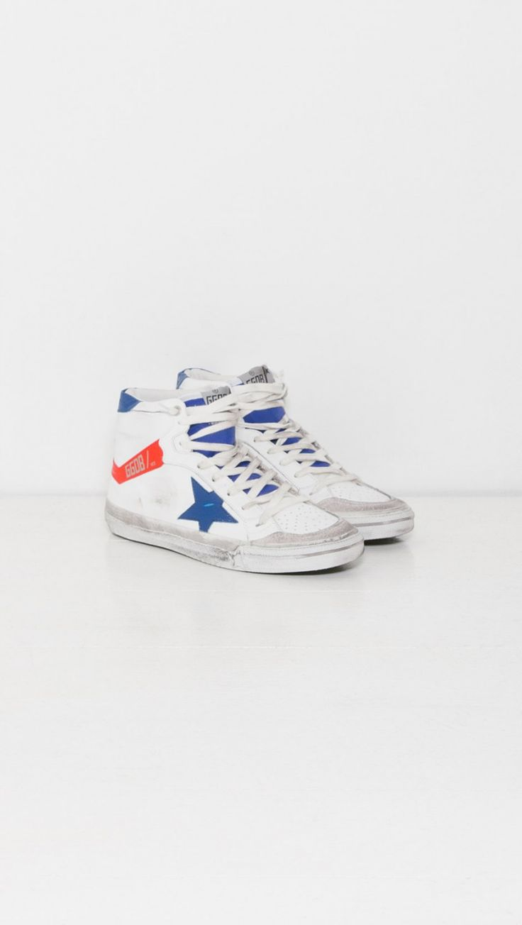 Golden Goose Sneakers 2.12 in White Blue and Red | The Dreslyn