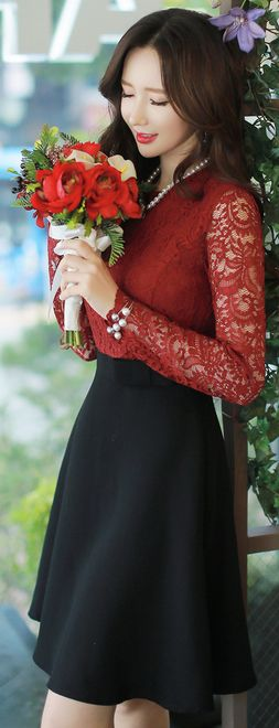 StyleOnme_See-through Floral Lace Long Sleeve Flared Dress #red #autumnlook…