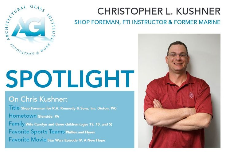 """AGI SPOTLIGHT: Chris Kushner Chris Kushner is a shop foreman for R.A. Kennedy & Sons, Inc. of Aston, Pa. His inside work often leaves him working alone for days on end, although recently he has been in charge of glazing a unitized system for a project in King of Prussia. The task has included training and supervising a team of five guys. """"I'm that low-key guy that does my job and helps people,"""" Kush explains. To read the full article go to: http://www.theagi.org/pdf/agi_spotlight201702.pdf"""