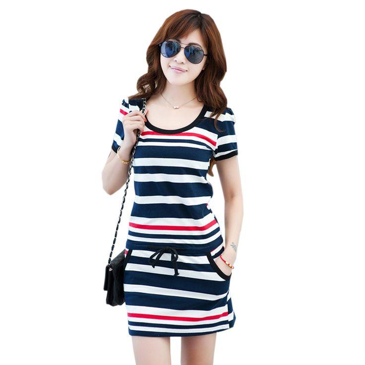 Cheap mini md80, Buy Quality mini dresses on sale directly from China dress flow Suppliers: 2016 Women Summer Striped Mini Dresses Cotton Short Sleeve O-Neck Stripe Tunic Mini Dress Ladies Casual Dress Plus Size Vestidos