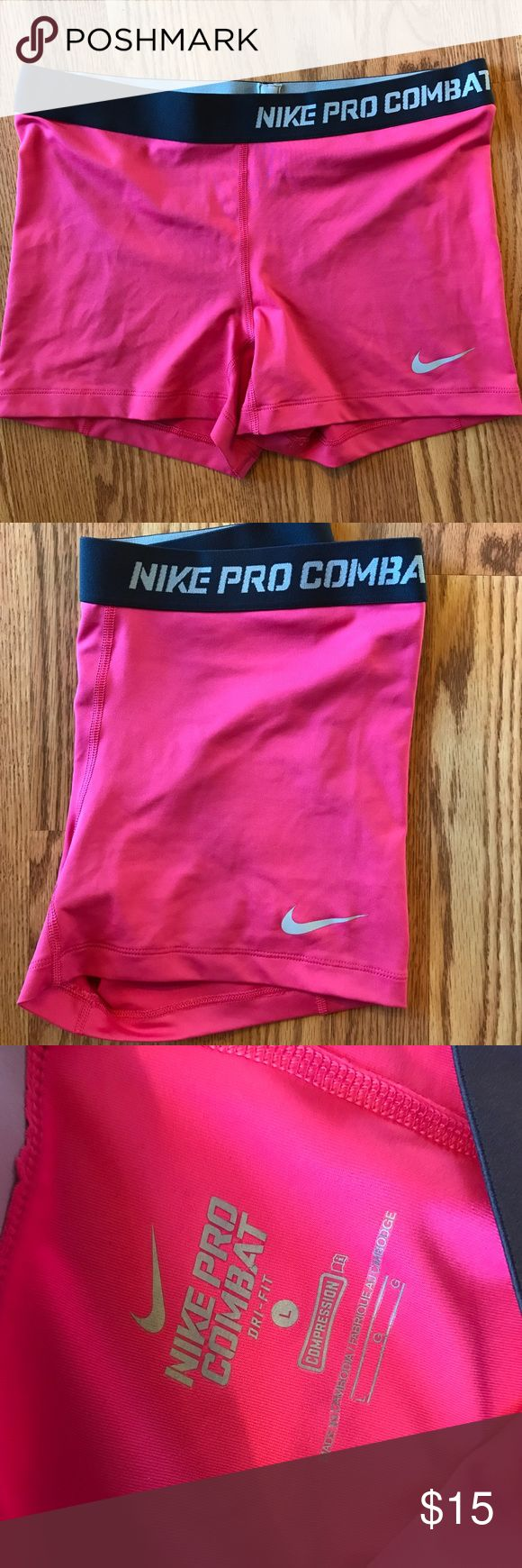 """Nike PRO Shorts Hot pink Nike PRO Combat shorts. 3"""" inseam. Dri-fit. Says """"compression"""" and they're definitely tight/fitted but I wouldn't call them compression compared to other brands. Excellent condition. Super cute for your booty workouts! Nike Shorts"""