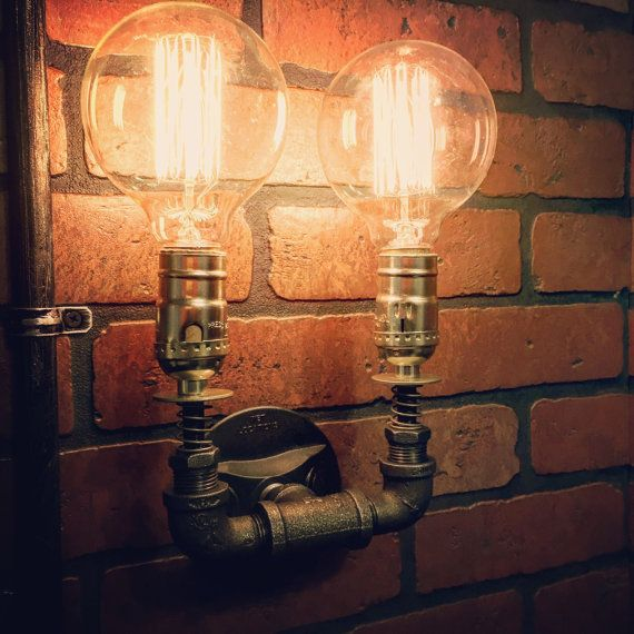 Steampunk Double Wall Sconce light with by EdwardandSonsLights
