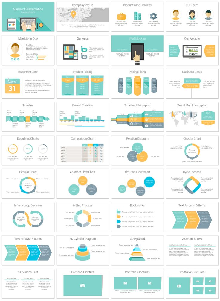 Laptop PowerPoint template in flat design style with 36 pre-designed slides. - PresentationDeck.com